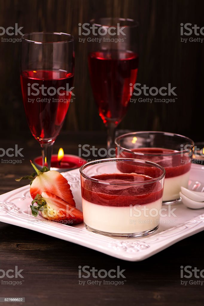 Italian panna cotta dessert stock photo