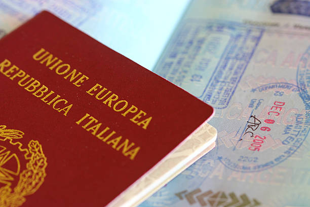 Italian passport stock photo