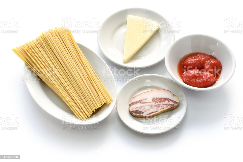 italian pasta amatriciana ingredients stock photo
