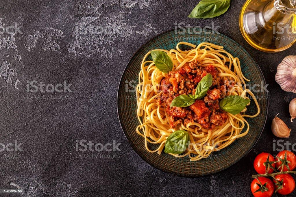 Italian pasta bolognese. stock photo