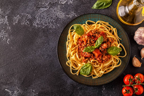 Italian pasta bolognese. stock photo