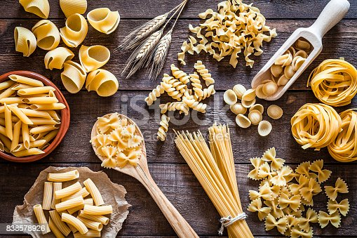 Top view of a rustic wooden table filled with a large Italian pasta variety. The types of pasta included are spaghetti, orecchiette, conchiglie, rigatoni, fusilli, penne and tagliatelle. Predominant colors are yellow and brown. DSRL studio photo taken with Canon EOS 5D Mk II and Canon EF 100mm f/2.8L Macro IS USM