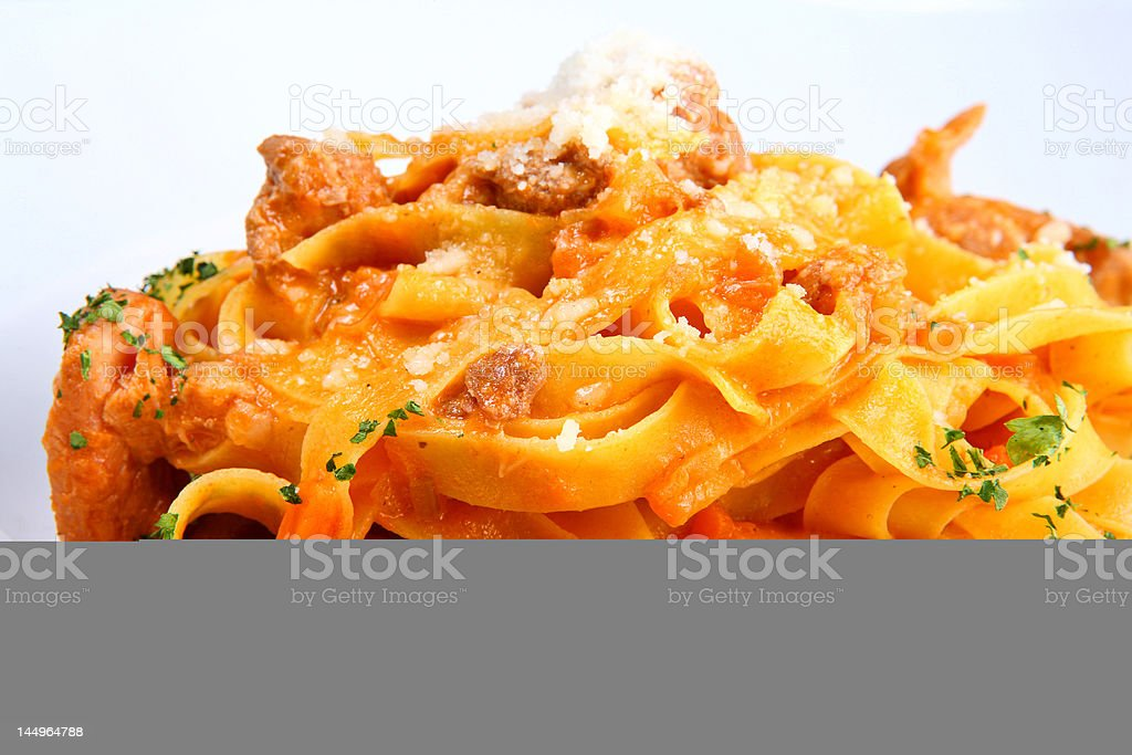 Italian pasta plate (Tagliatelle with rabbit ragout) stock photo