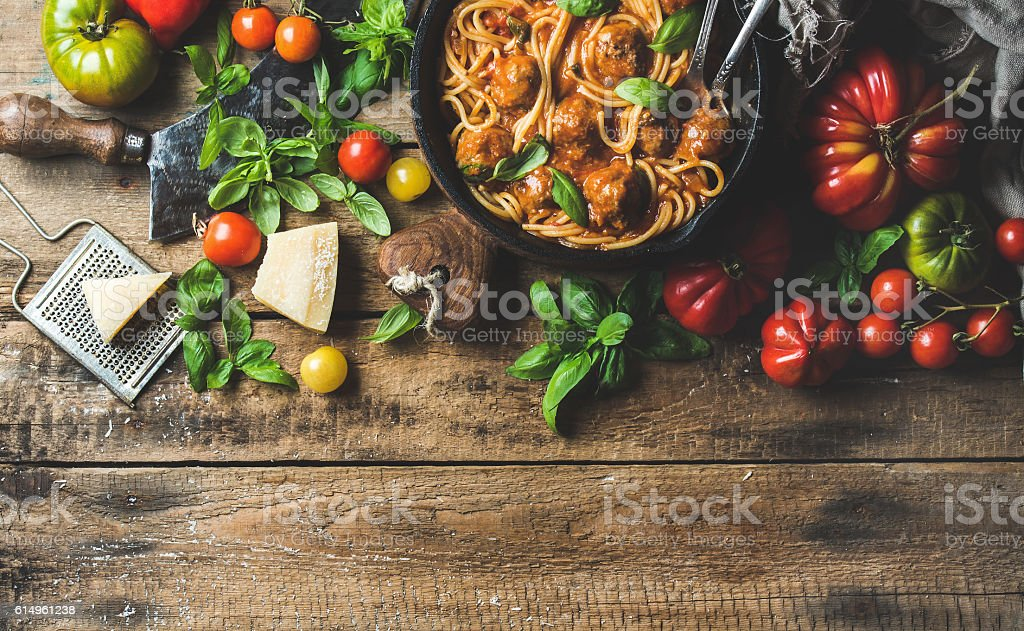Italian pasta spaghetti with tomato sauce and meatballs stock photo