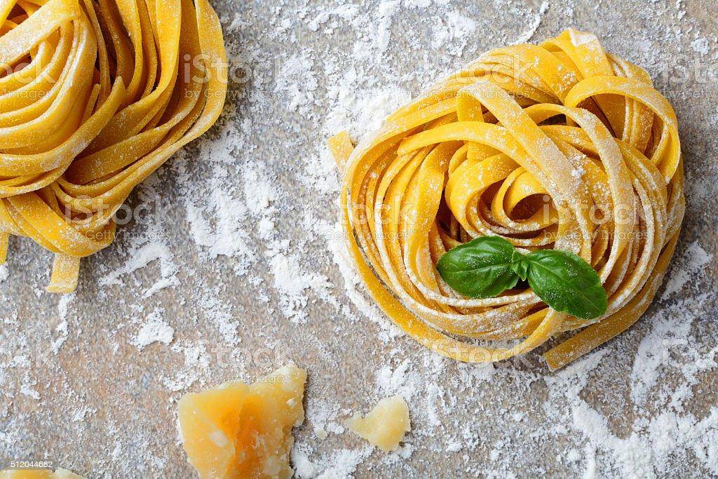 Italian pasta tagliatelle stock photo