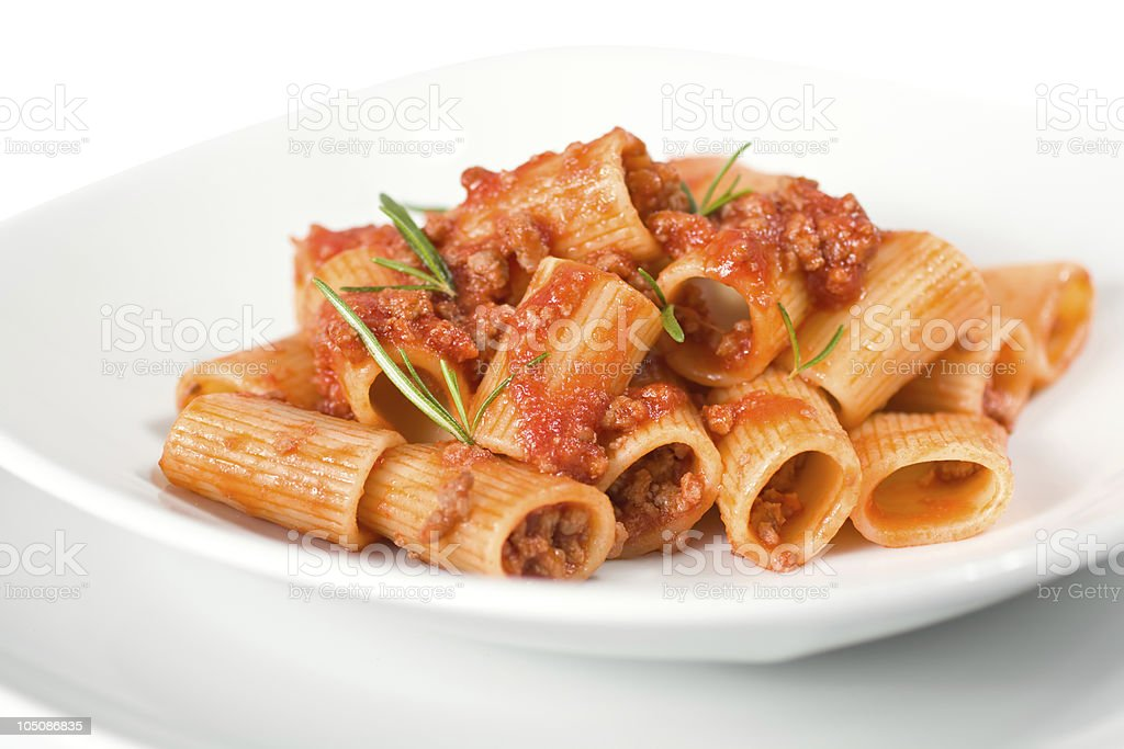 Italian pasta with a meat sauce stock photo