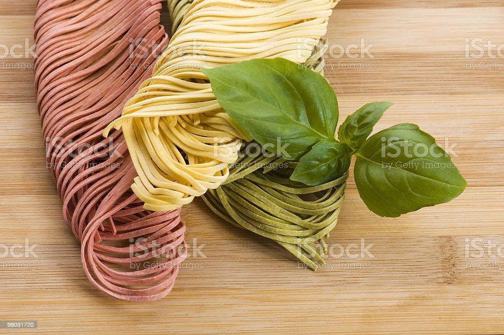 italian pasta with basil royalty-free stock photo