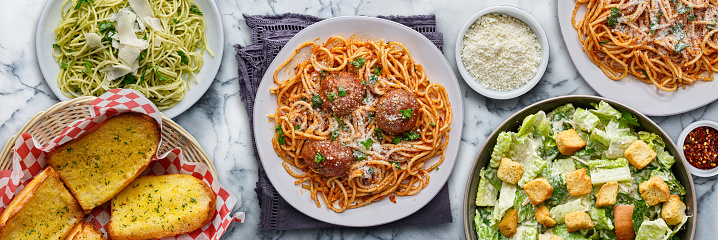 italian pasta with spaghetti and meatballs in wide composition