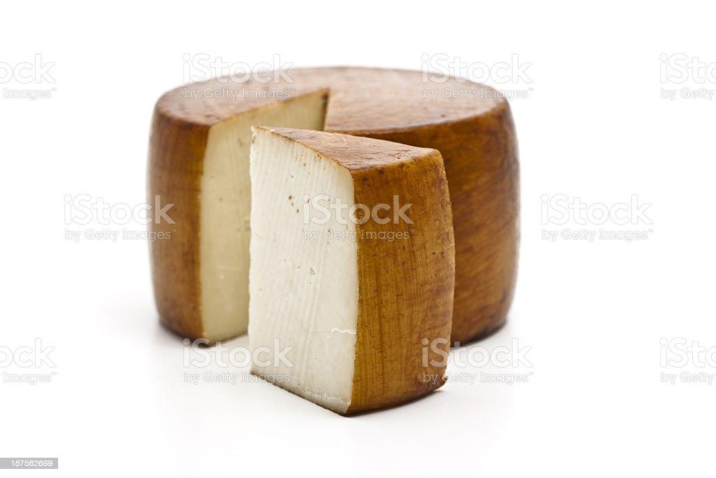 Italian pecorino cheese wheel with wedge removed stock photo