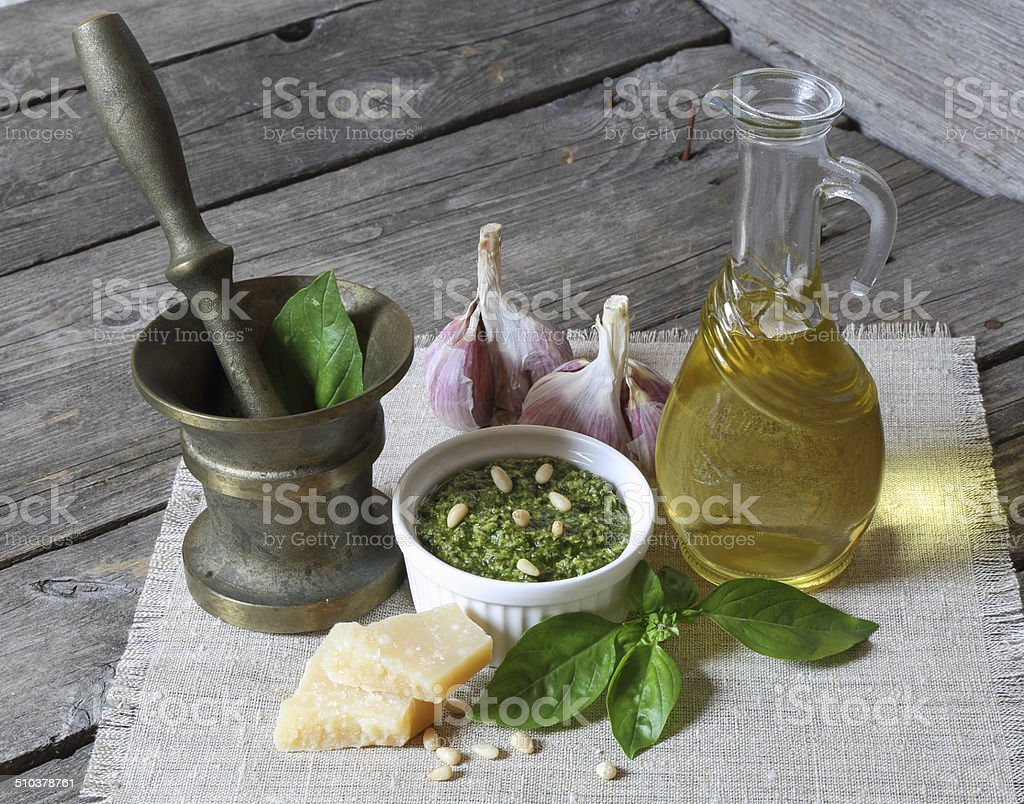 Italian pesto sauce and ingredients stock photo