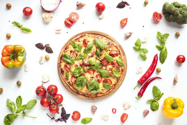 italian pizza and ingredients stock photo