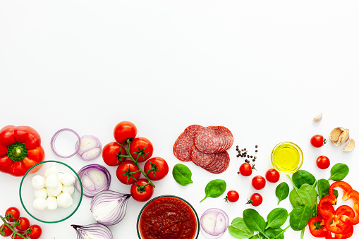 Italian pizza preparation and ingredients