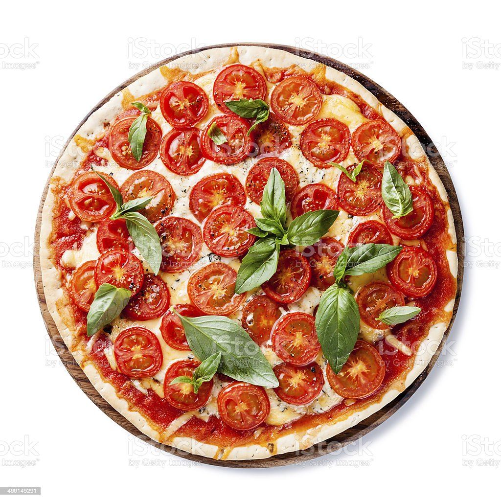 Italian pizza with cherry tomatoes stock photo