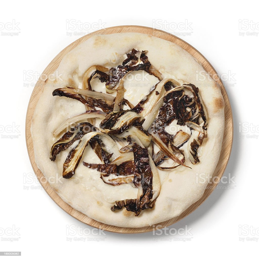 Italian pizza with mozzarella and red chicory from Treviso stock photo