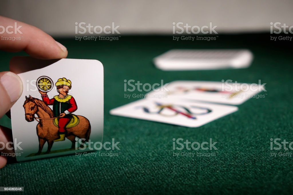Italian playing cards Scopone Scopa Briscola stock photo