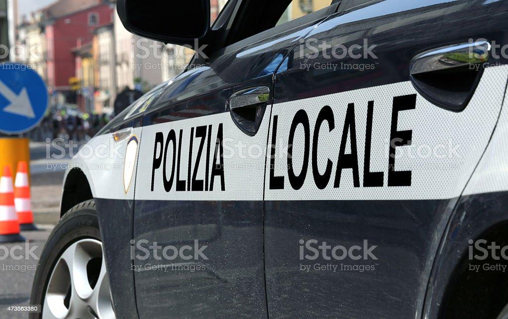 Italienische Polizei Auto während die Straßensperre - Lizenzfrei 2015 Stock-Foto