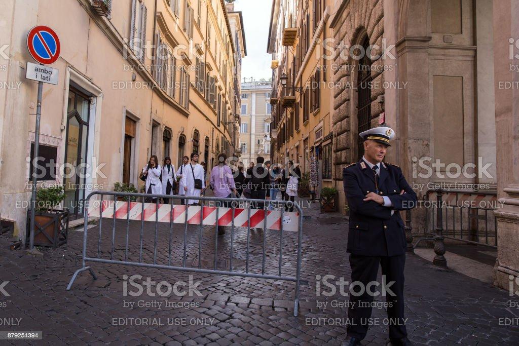 Italian policeman on the street of Rome stock photo