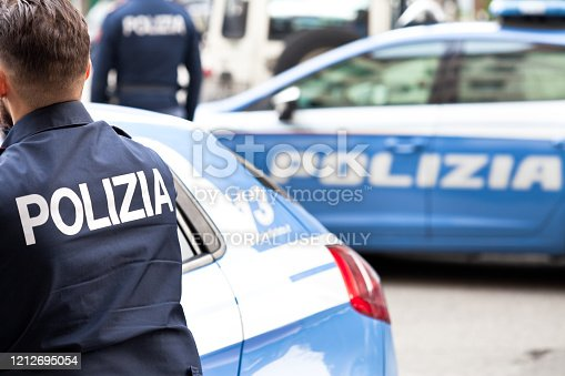 Padua, Italy - March 12, 2020. Italian Policemen in Padua during a checkpoint.