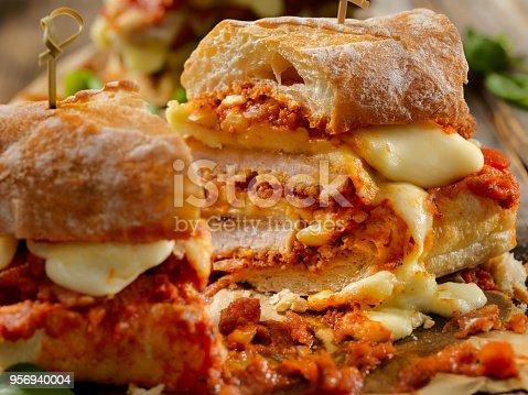 Italian Pork Cutlet Sandwich with Tomato Sauce and Mozzarella Cheese