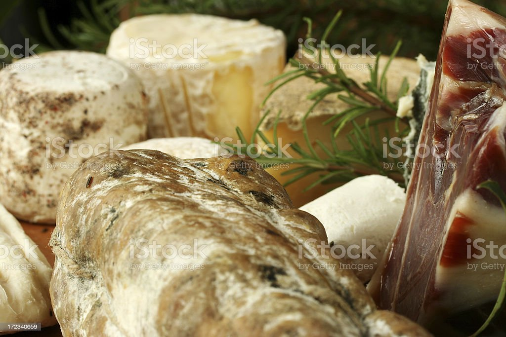 Italian products:  ham, cheese, salame royalty-free stock photo