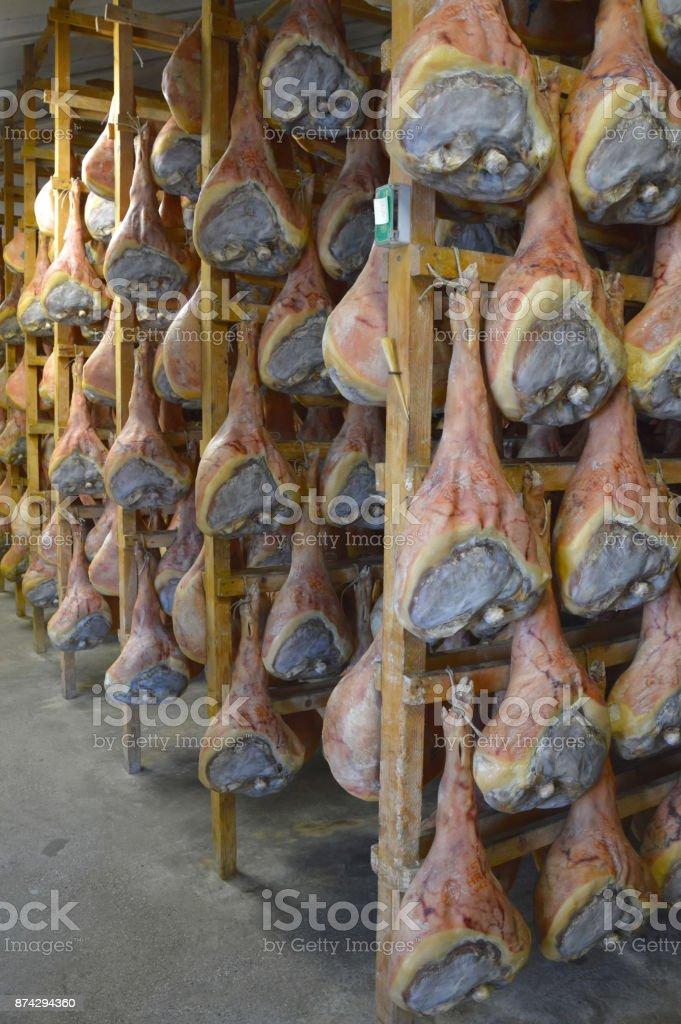 Italian prosciutto cellar stock photo