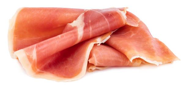 i̇talyan prosciutto crudo veya jamon. çiğ jambon. beyaz arka planda yalıtılmış - parma jambonu stok fotoğraflar ve resimler