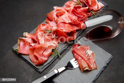 Italian prosciutto crudo or spanish jamon anw glass of wine on concrete backfround background.