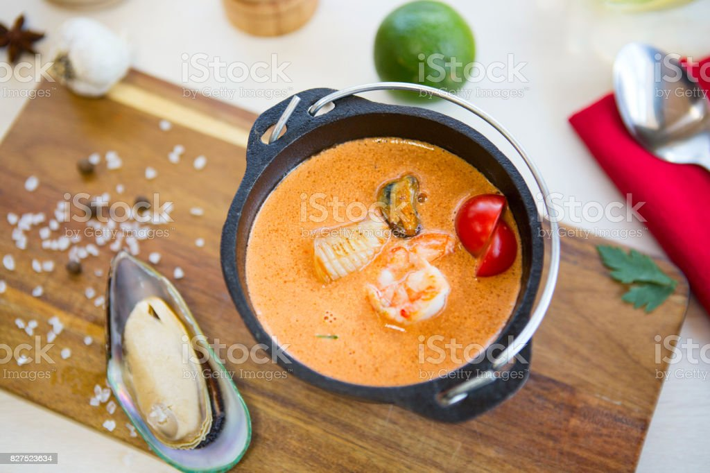 Italian restaurant cuisine, healthy delicatessen seafood soup stock photo