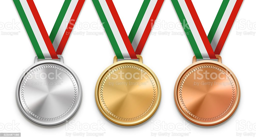 Italian Ribbon Medals stock photo