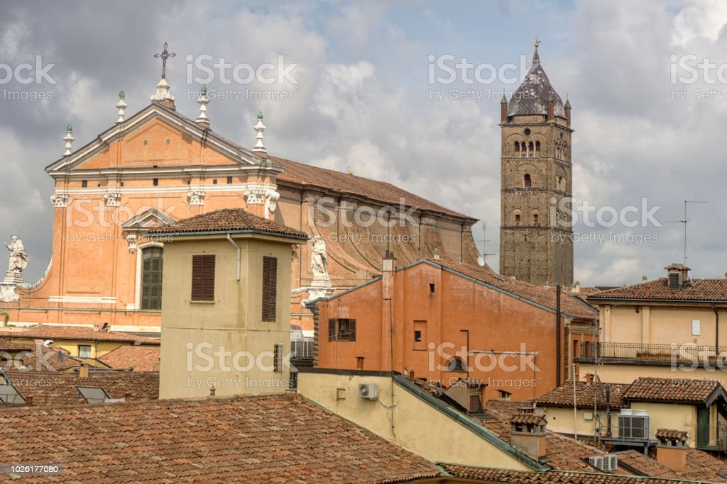 Italian roof tops with church and tower stock photo