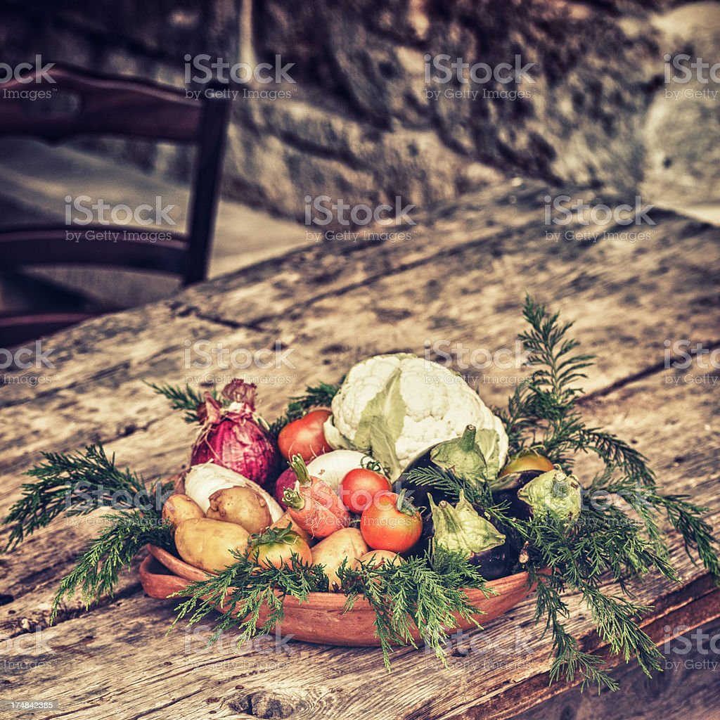 Italian rustic plate with vegetables royalty-free stock photo