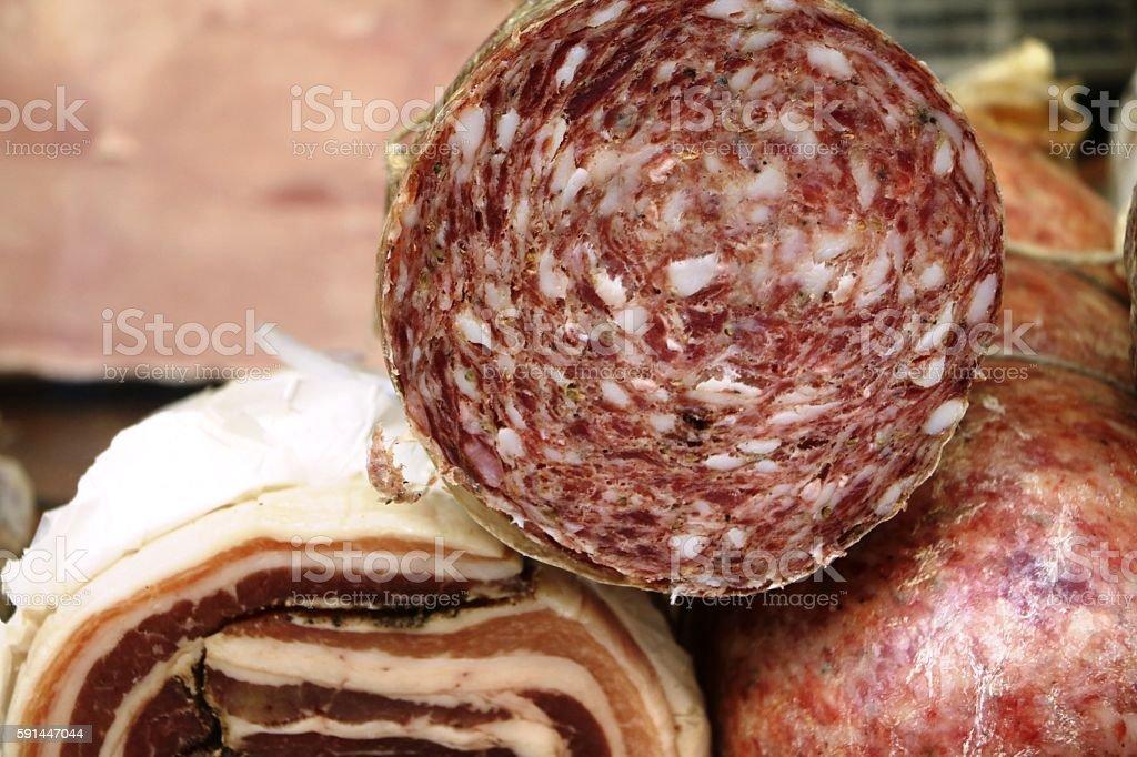 Italian salami fresh from the market stock photo