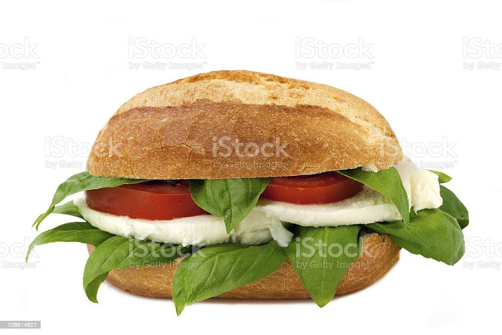 italian sandwich with fresh buffalo mozzarella royalty-free stock photo
