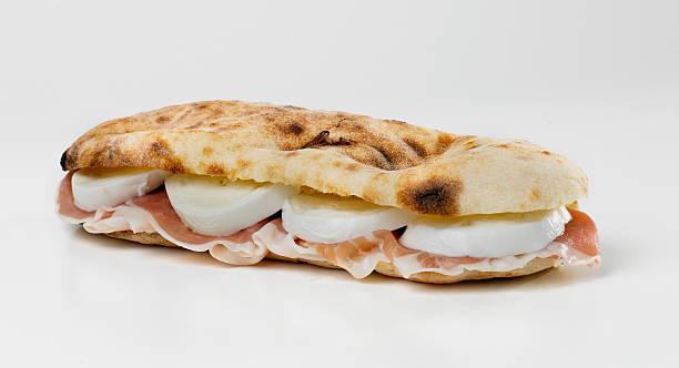 italian sandwich with fresh tomato and buffalo mozzarella stock photo