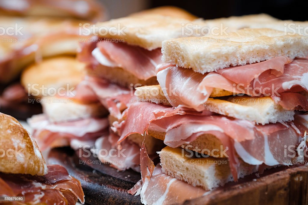 italian sandwiches focaccia with prosciutto stock photo