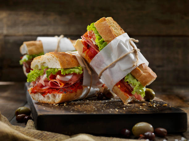 Italian Sandwich's with Roasted Red Peppers stock photo