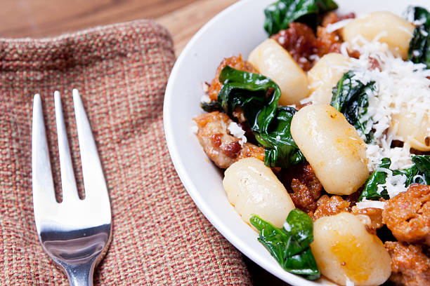 Italian Sausage, Spinach and Gnocci stock photo