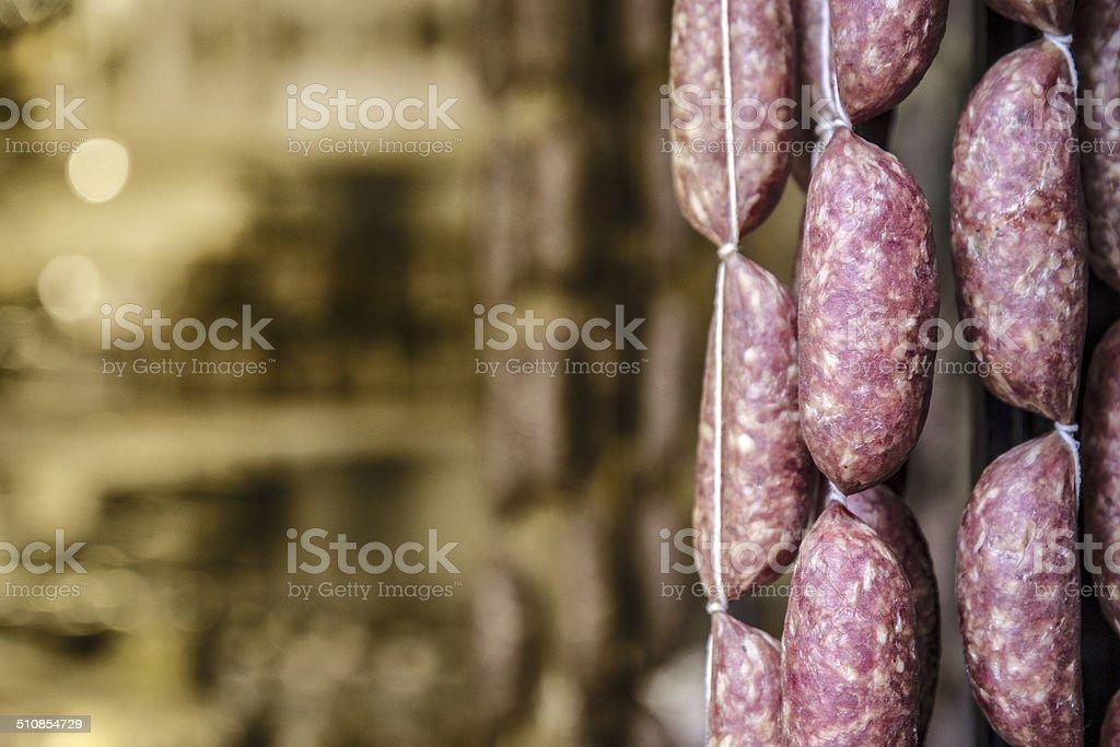 Italian sausages stock photo