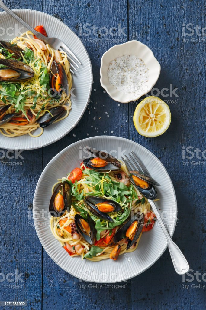 Italian Seafood Pasta with Mussels and Calamari stock photo