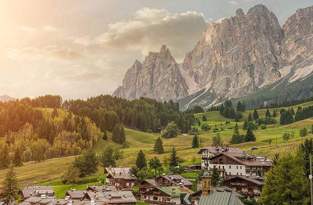 Italian small town of Cortina d'Ampezzo stock photo
