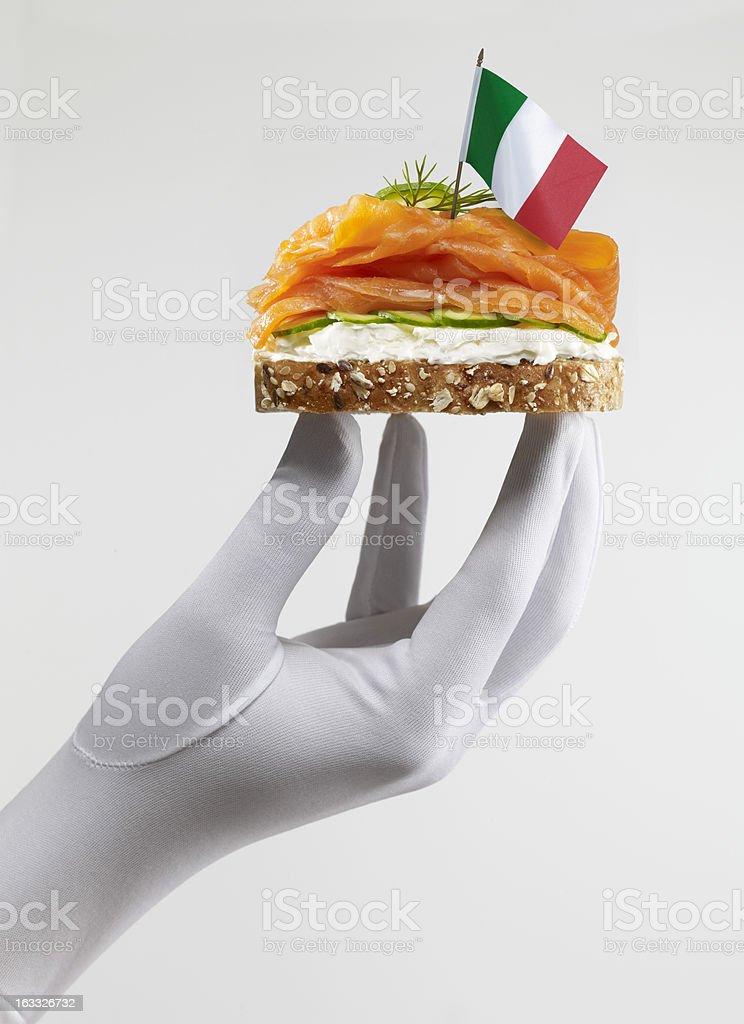 Italian Smoked Salmon Sandwich royalty-free stock photo