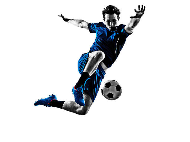 italian soccer player man silhouette - soccer player stock photos and pictures