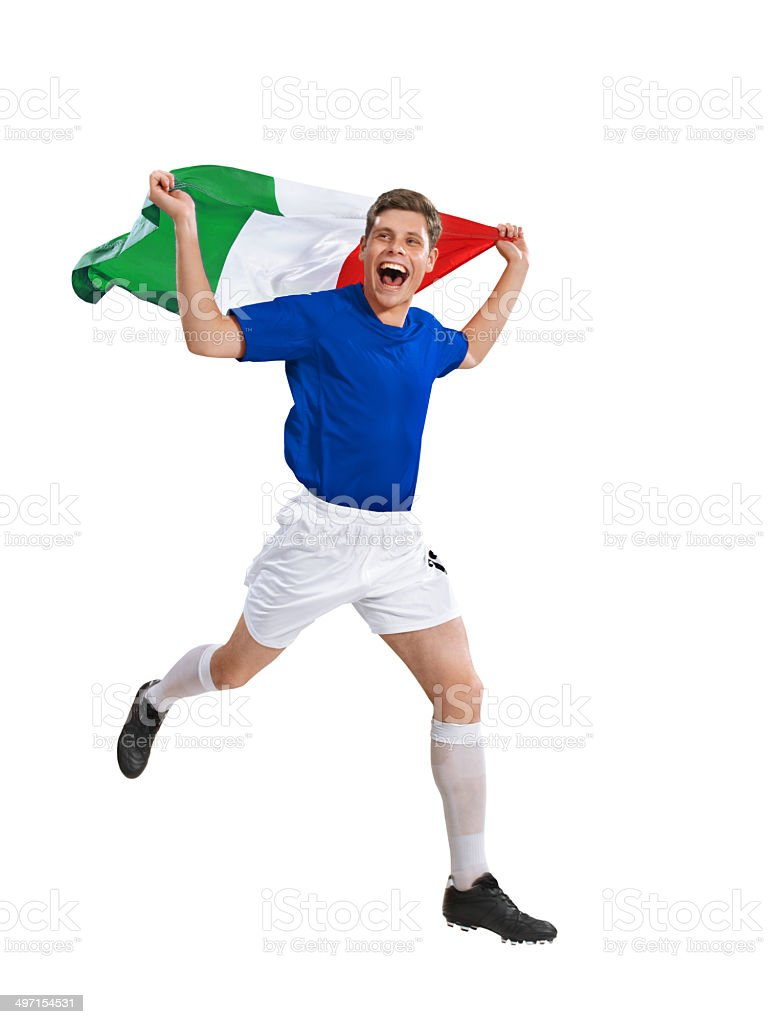 Italian soccer player runs with flag after victory royalty-free stock photo