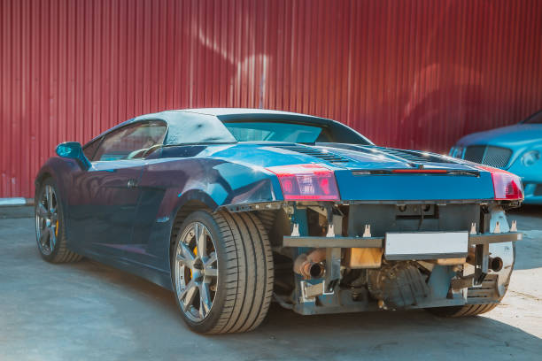Italian Sport Car Cabriolet Damage To The Rear And Front Bumper After An Accident Service And Tuning Against The Background Of The Iron Wall Stock Photo Download Image Now Istock