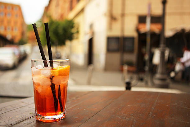 Italian Spritz at a cafe in Trastevere Rome stock photo