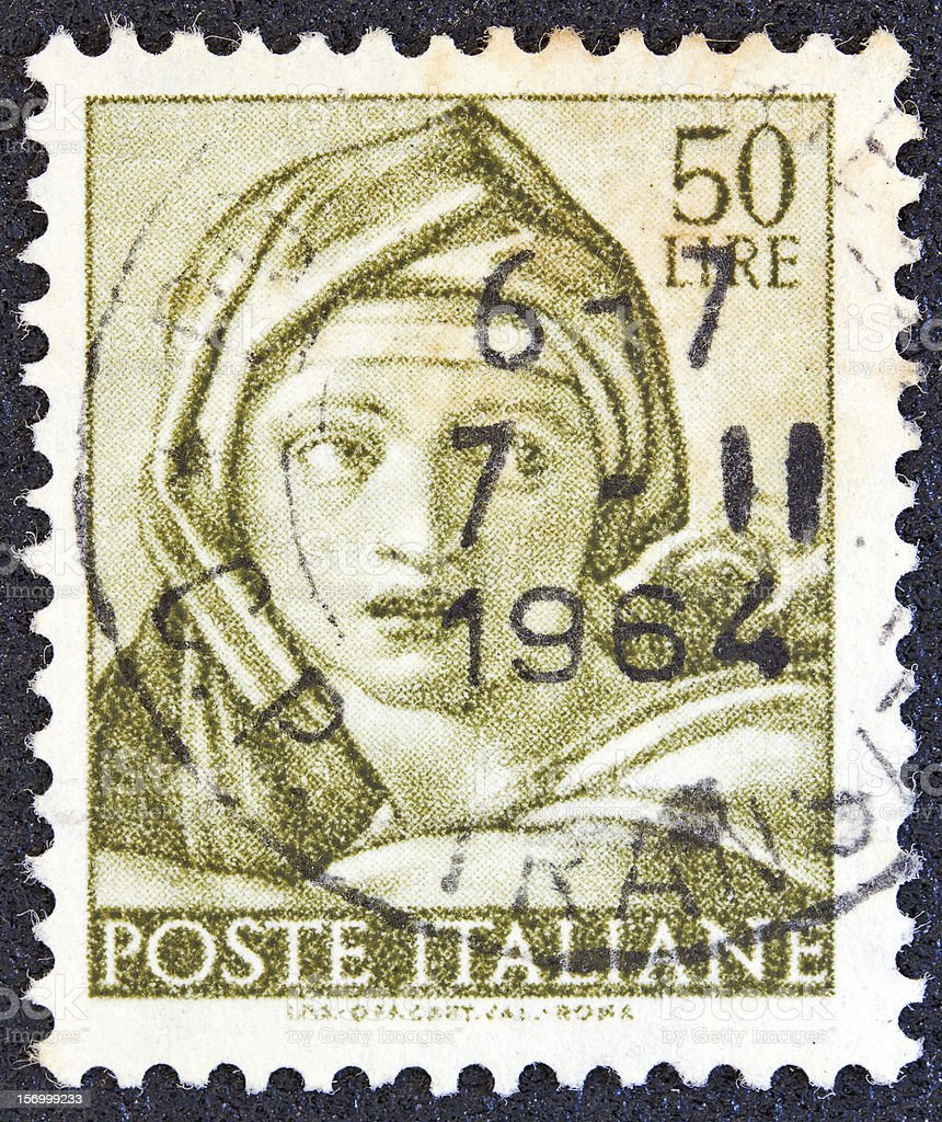 Italian stamp shows the head of Delphic Sibyl (1961) stock photo