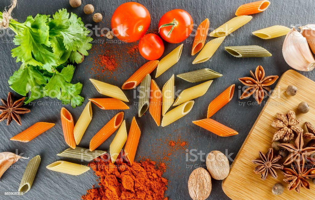 italian still life pasta and spices set for cooking pasta booklet