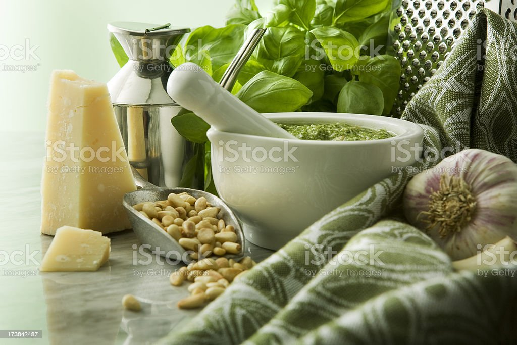 Italian Stills: Pesto in Mortar royalty-free stock photo