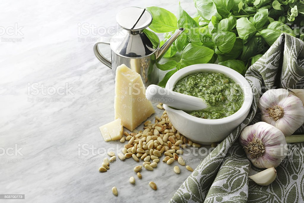 Italian Stills: Pesto in Mortar stock photo