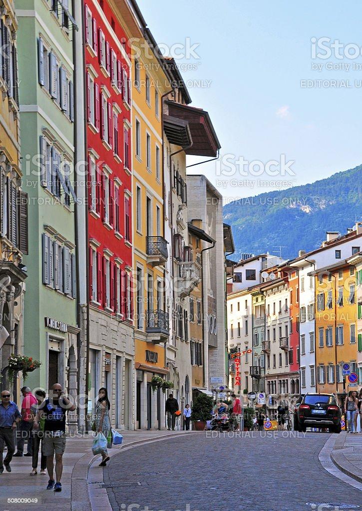 Italian street in Trento stock photo